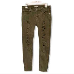 Zara Army Green Distressed Ripped Skinny Jeans